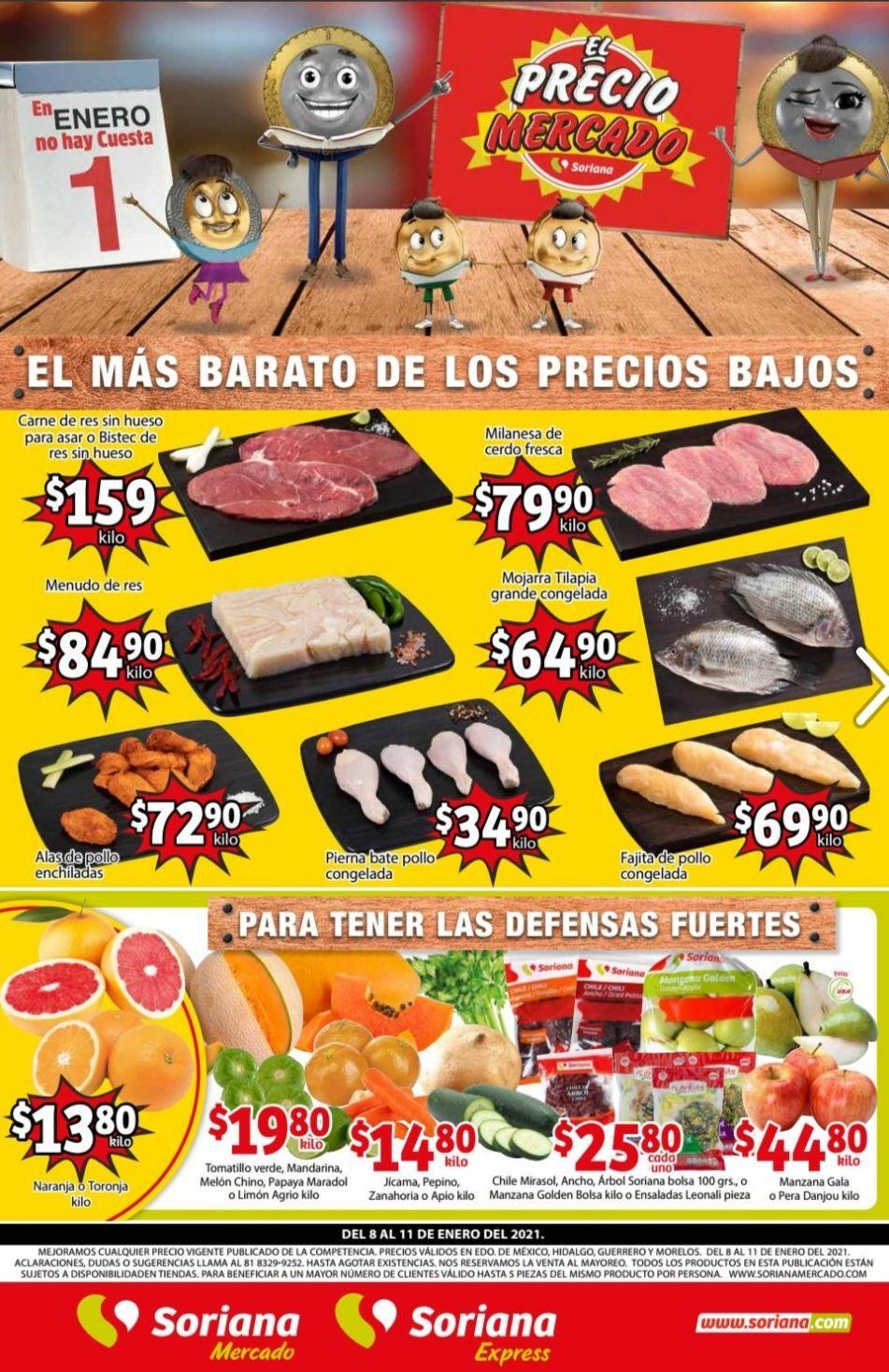 Soriana Mercado y Express: Volante de Ofertas Fin de Semana del Viernes 8 al Lunes 11 de Enero