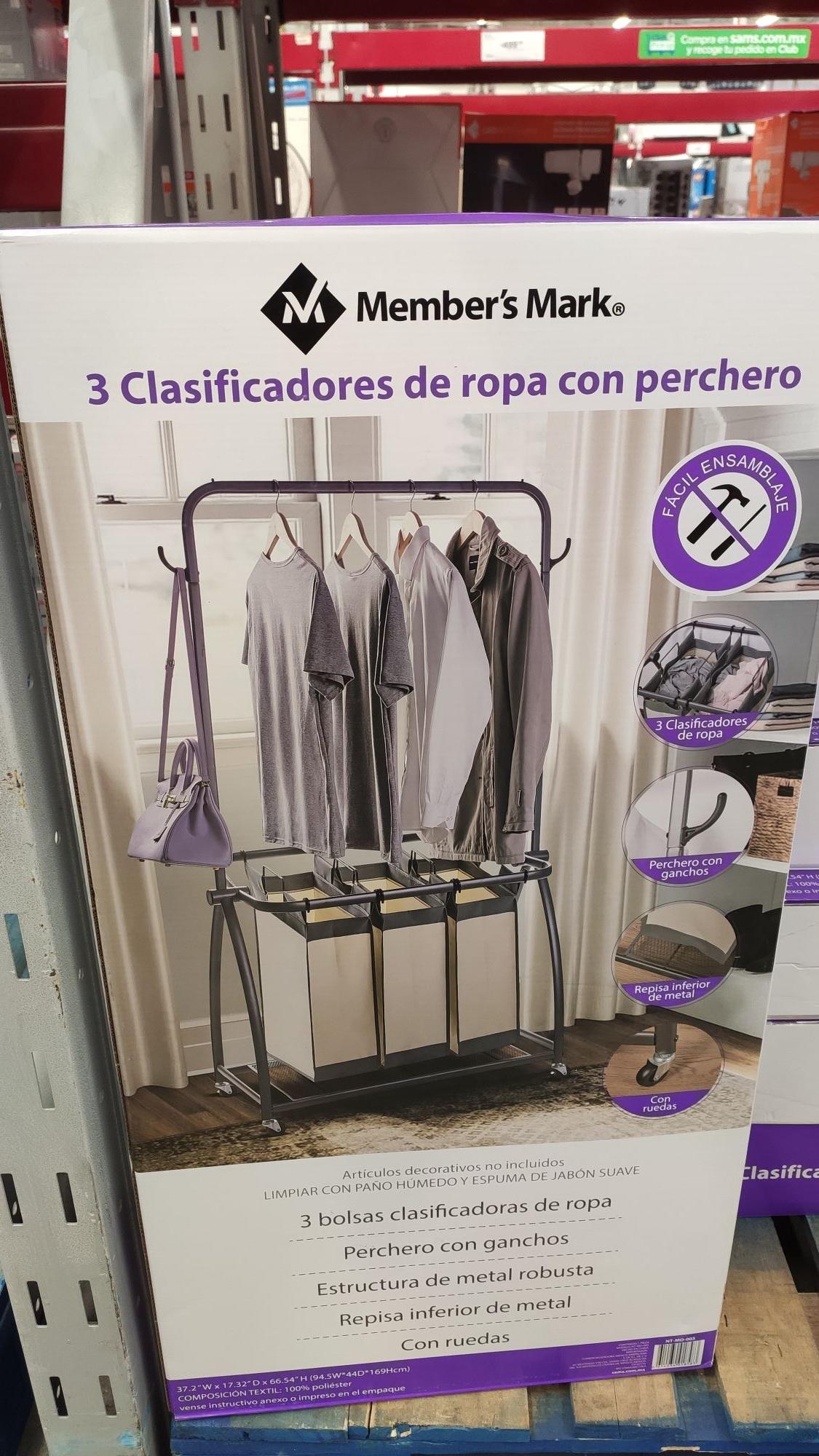 Sam's Club: 3 clasificadores de ropa con perchero