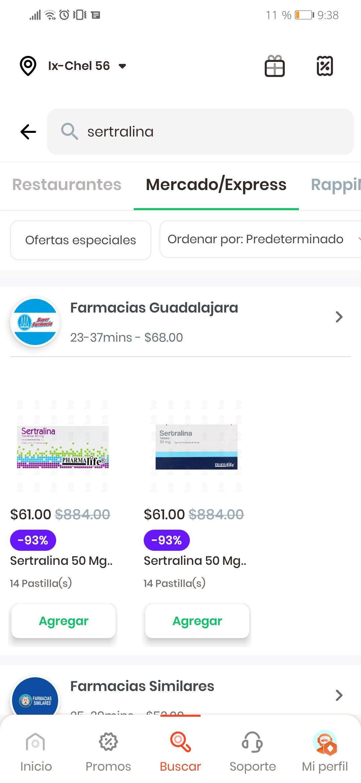 Rappi: sertralina 50mg 14 pastillas