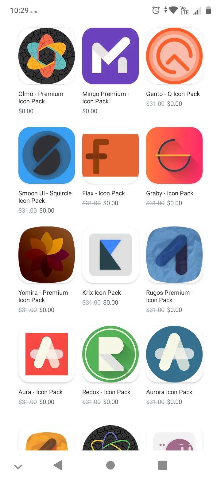 Google Play, Ofertas en packs de íconos