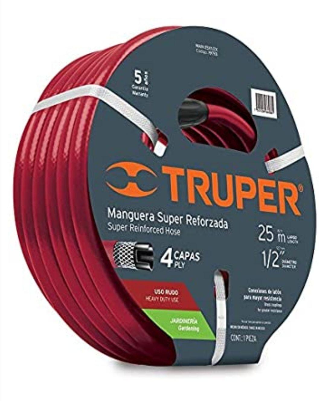 "Amazon: Truper MAN-25X1/2X, Manguera armada super reforzadas 4 capas, conexiones metálicas, 1/2"", 25 m"