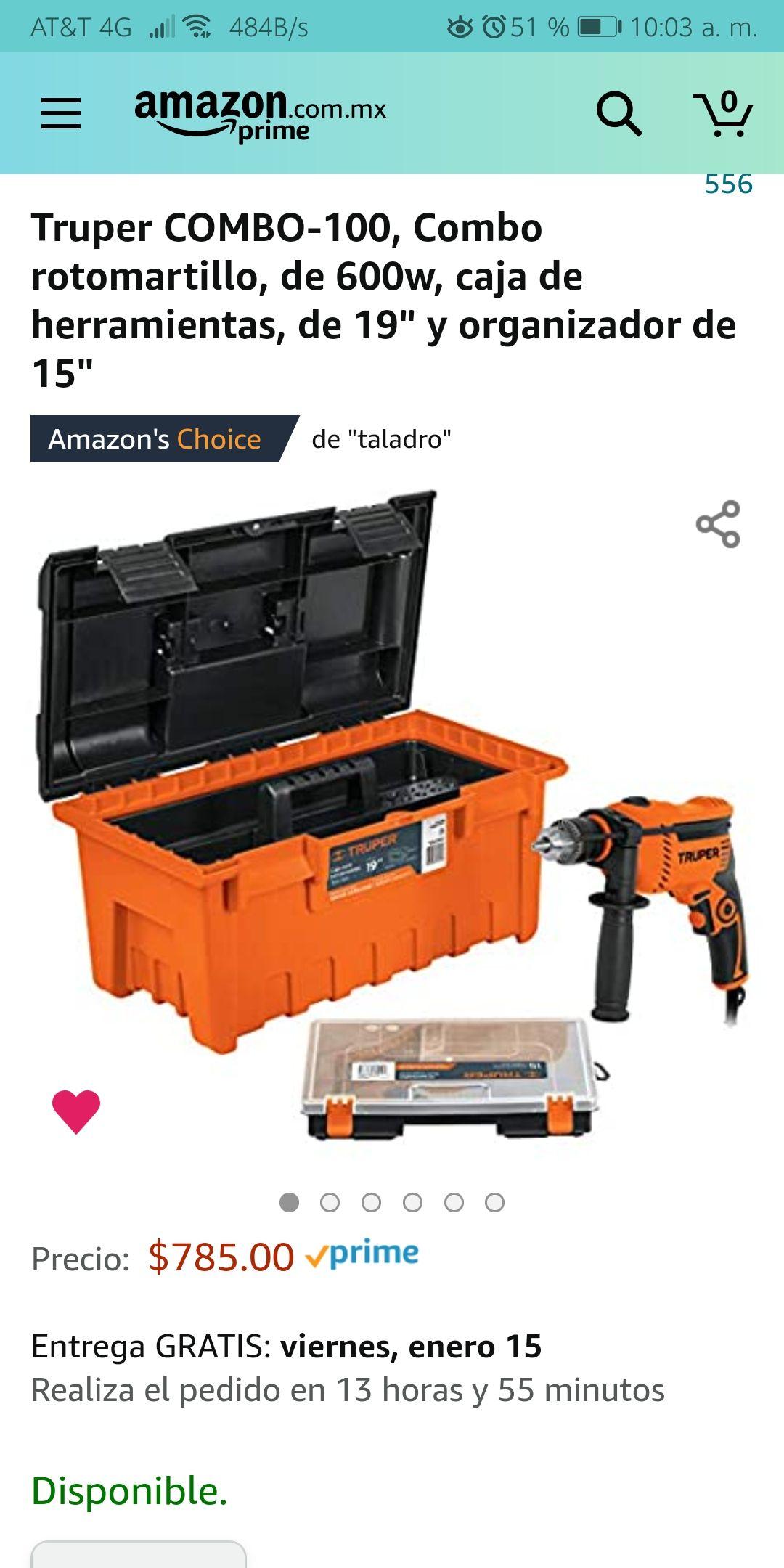 """Amazon: Rotomartillo Truper de 600w, con su caja de herramientas de 19"""" y organizador de 15"""""""