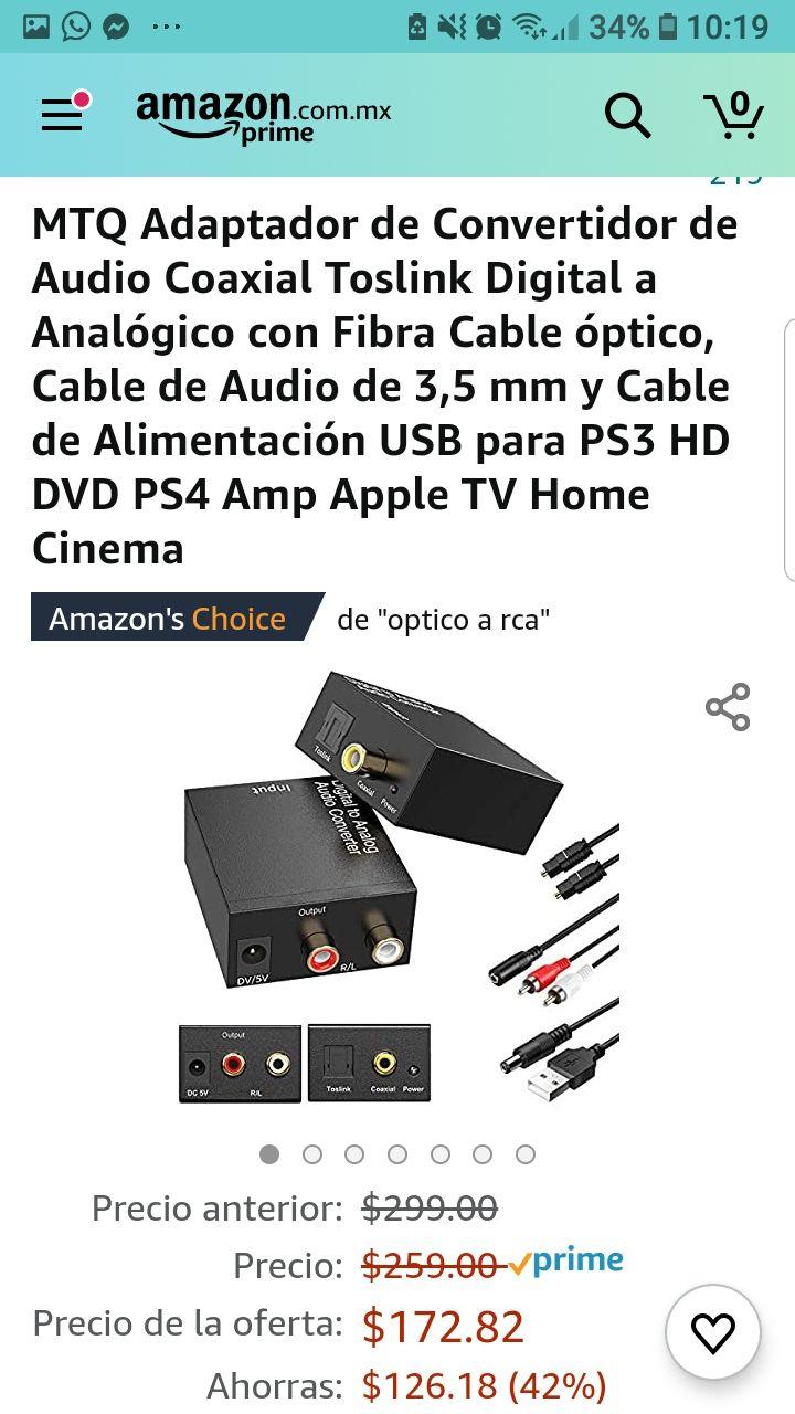 Amazon: MTQ Adaptador de Convertidor de Audio Coaxial Toslink Digital