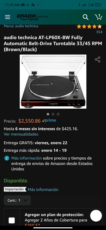 Amazon: Tornamesa Audio Technica AT-LP60X-BW