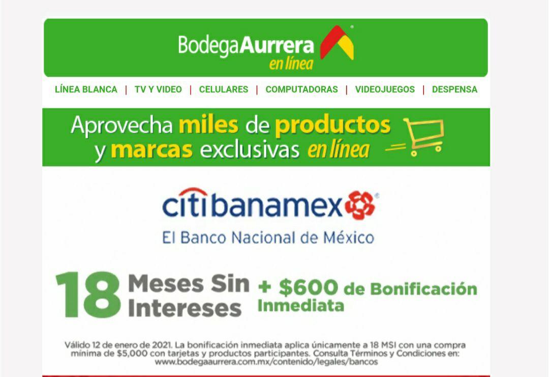 Bodega Aurrerá: 600 de descuento con banamex en compras de 5000 y 18 meses sin intereses.