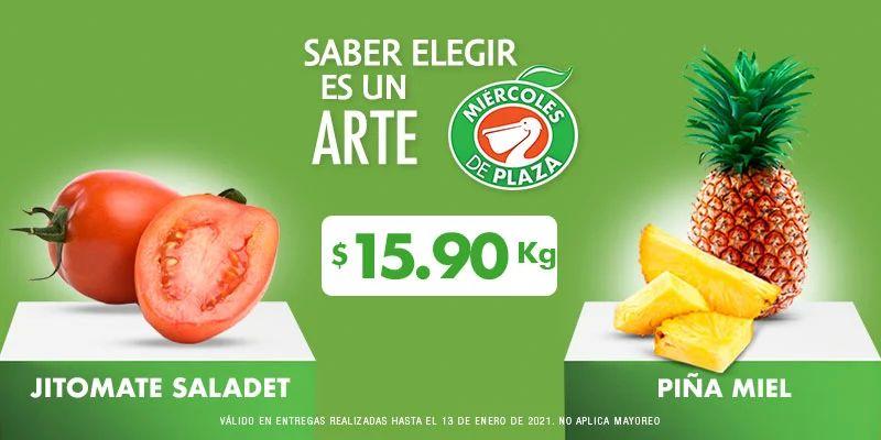 La Comer y Fresko: Miércoles de Plaza 13 Enero: Jitomate ó Piña $15.90 kg... Aguacate ó Manzana Starking $28.50 kg.