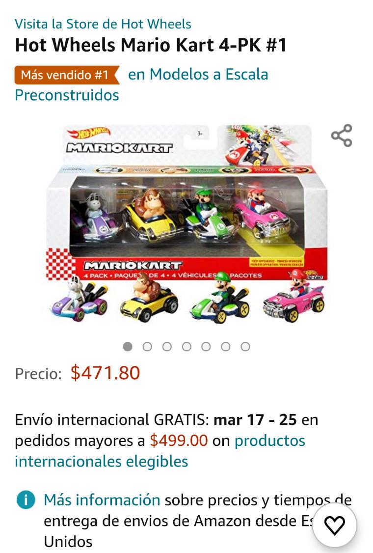 Amazon: Mario Kart Hot Wheels 4 Pack Nuevamente disponible