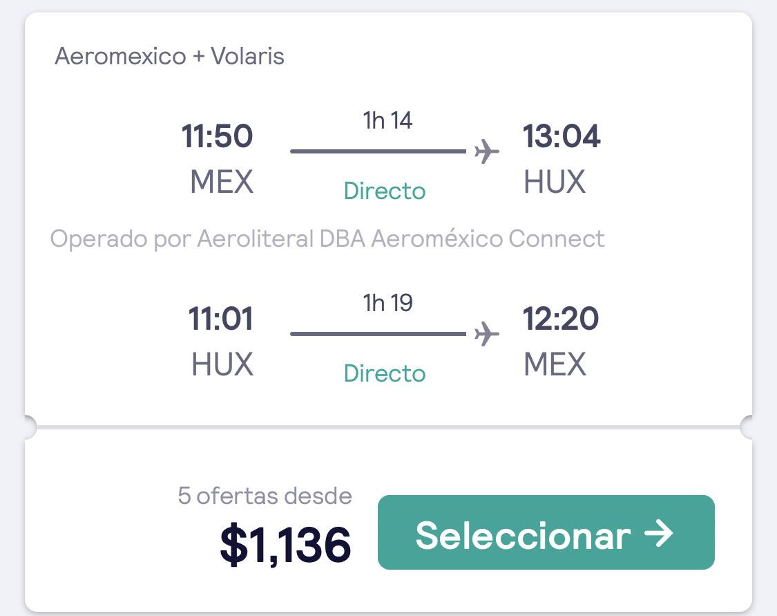 Vuelo Redondo $1192 Mexico - Huatulco