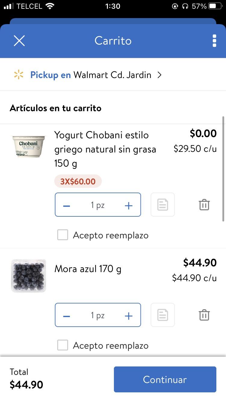 Walmart: Yogurt Chobani gratis en la compra de cualquier producto