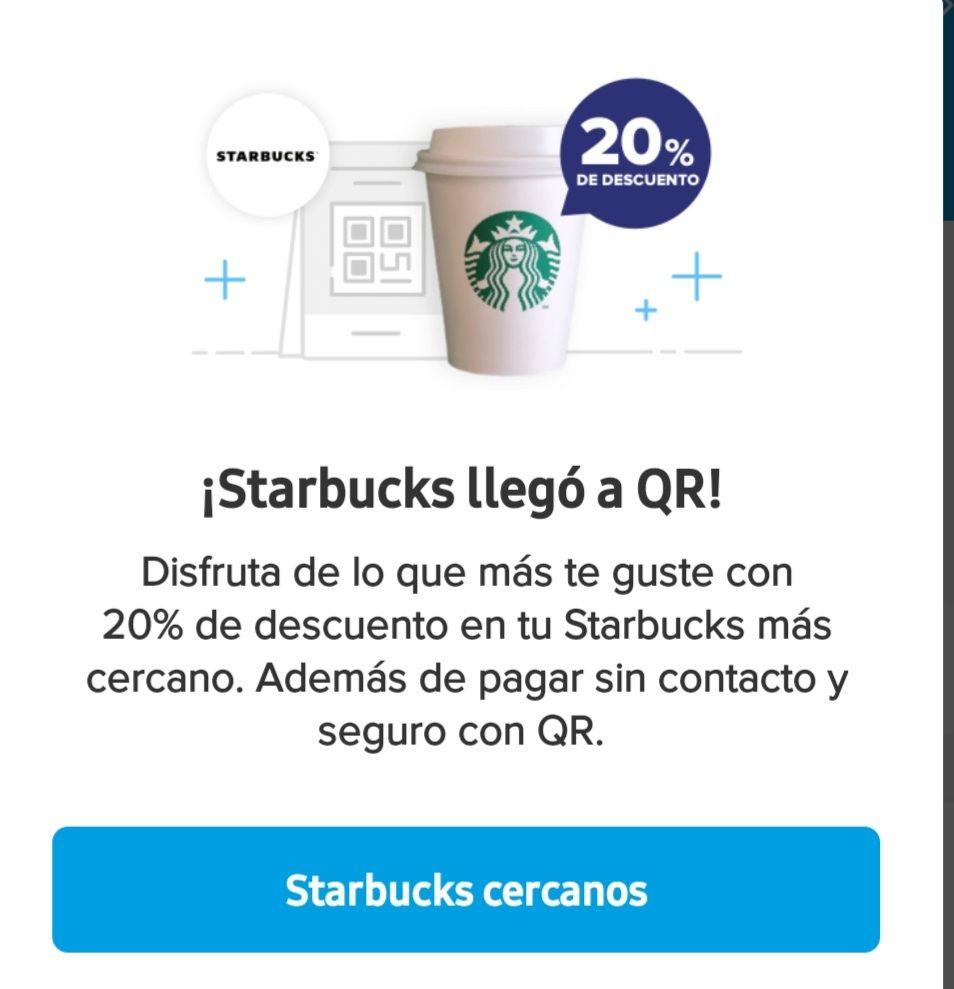 Mercado pago: 20% de descuento en Starbucks pagando con QR