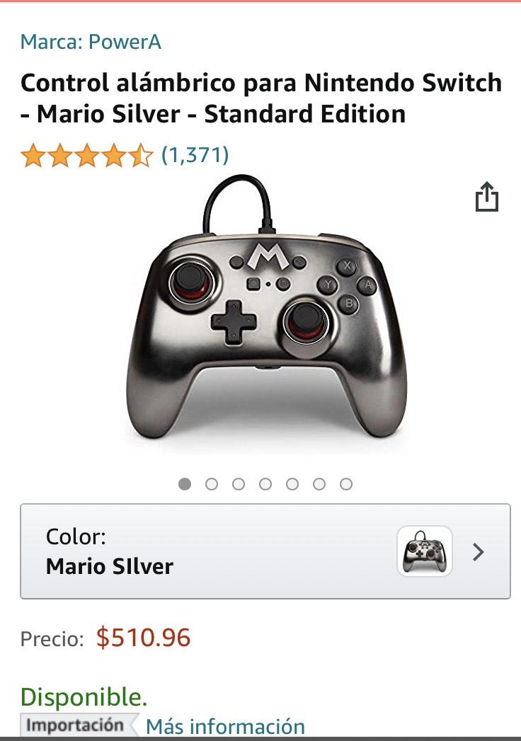 Amazon: Control alámbrico para Nintendo Switch - Mario Silver - Standard Edition