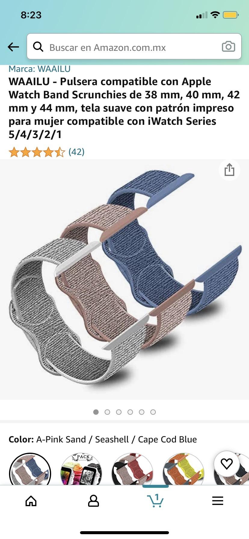 Amazon -WAAILU Pulsera compatible con Apple Watch Band Scrunchies