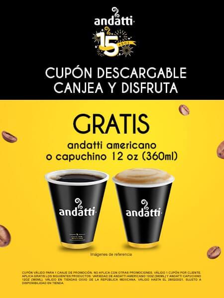 Oxxo: Gratis Café andati americano o capuchino