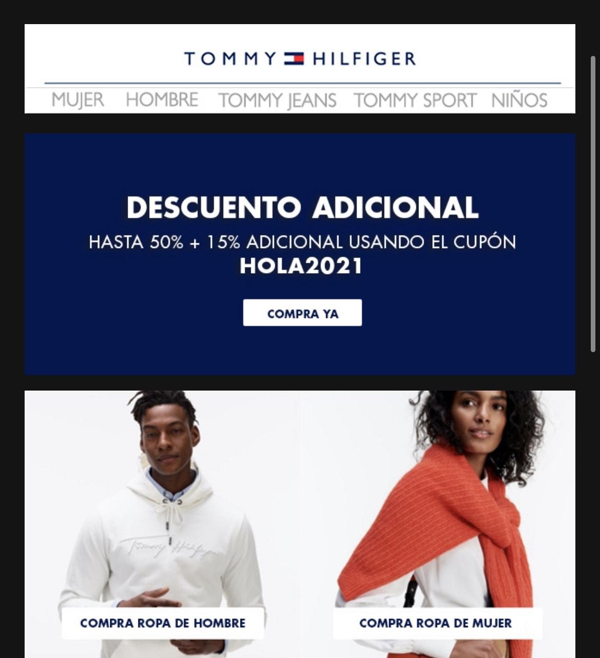 Tommy Hilfiger rebajas hasta 50% + 15% adicional con cupón