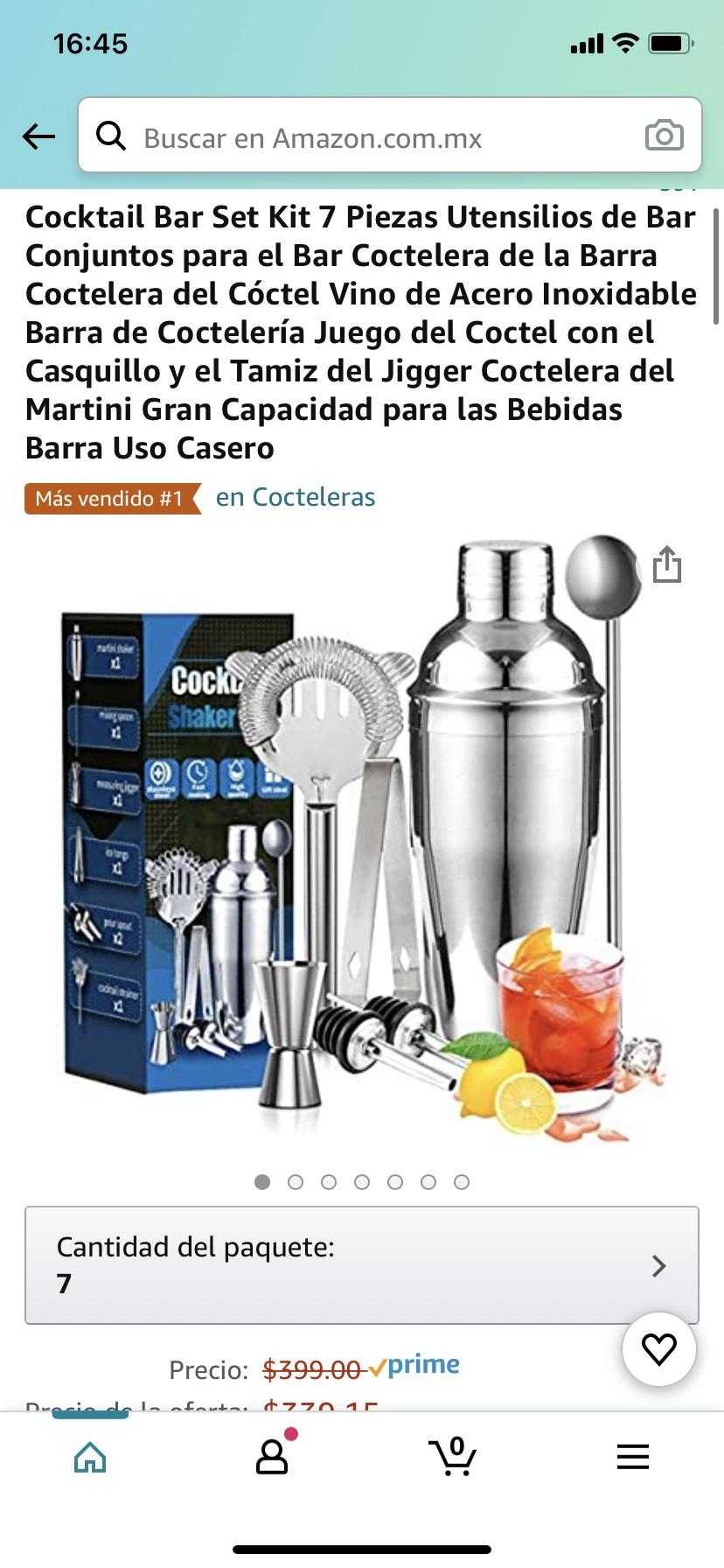 Amazon: Cocktail Bar Set Kit 7 Piezas Utensilios de Bar