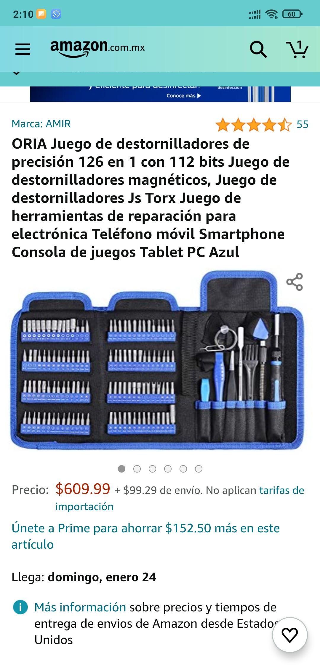 Amazon: Juego de destornilladores 126 piezas