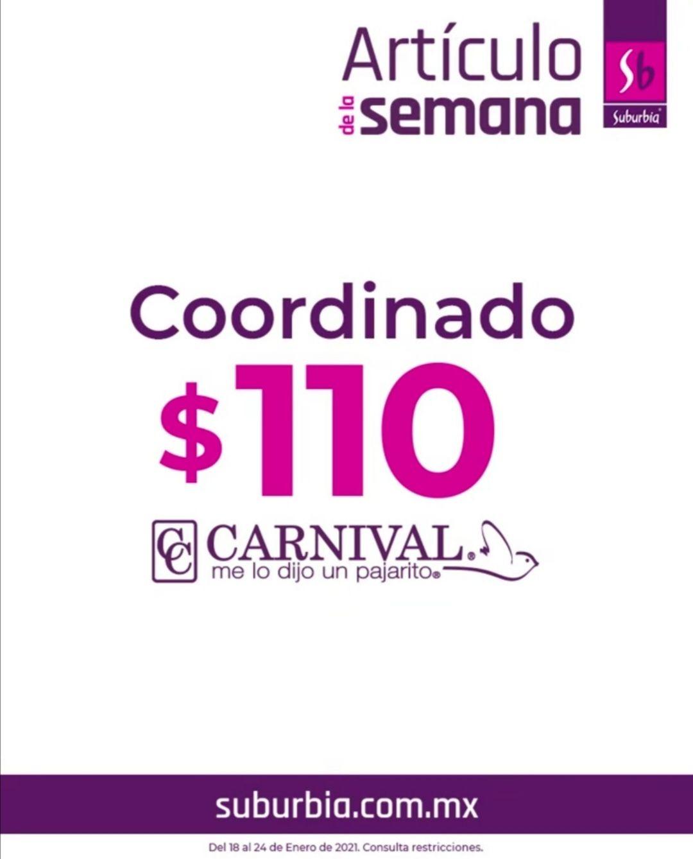 Suburbia: Artículo de la Semana del Lunes 18 al Domingo 24 de Enero: Coordinado Carnival $110