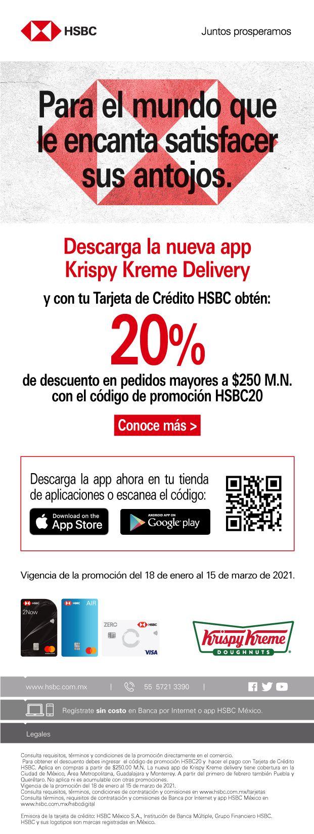 Kryspy Kreme 20% descuento en app con HSBC