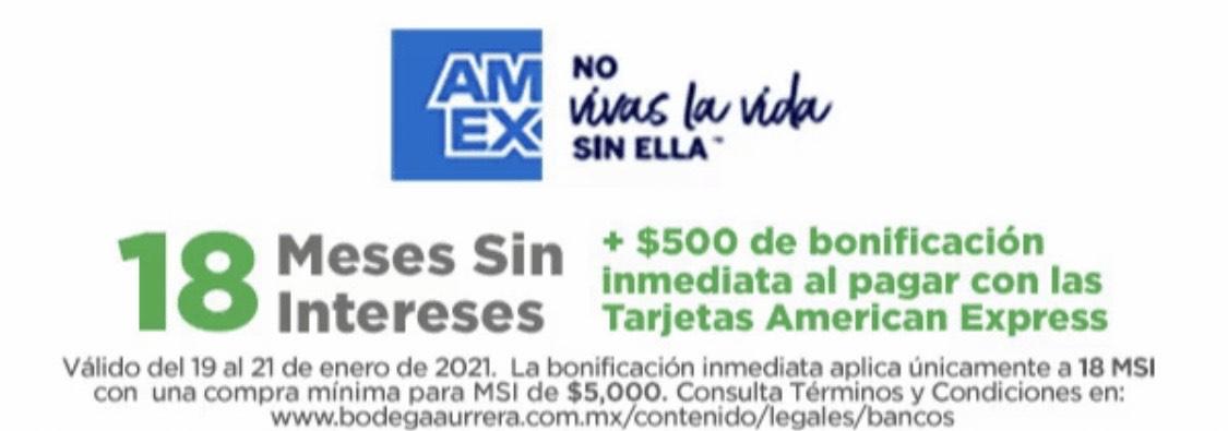 Bodega Aurrerá, 500 pesos de descuento con American Express, compra mínima 5,000
