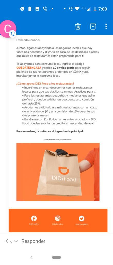 Didi Food : QUEDATEENCASA 10 Envíos gratis