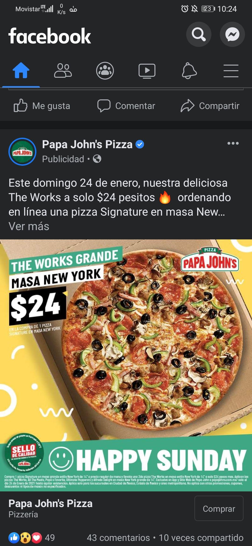 Papa John's: Pizza a $24 comprando otra a precio regular