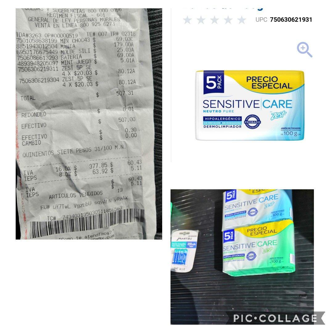 Jabón zest sensitive care paquete con 5 piezas a tan solo 20.03 en Walmart y Superama!!!