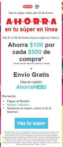 HEB: Cupón $100 usuarios seleccionados