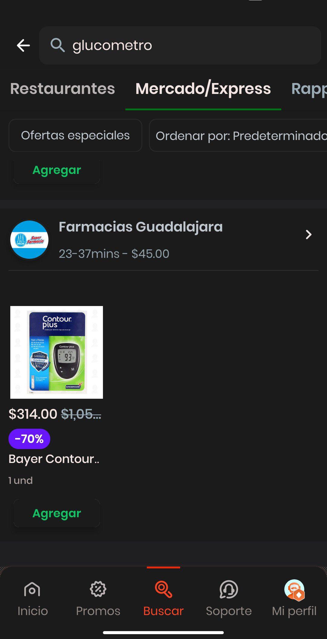 Rappi y Farmacias Guadalajara: Glucometro contours