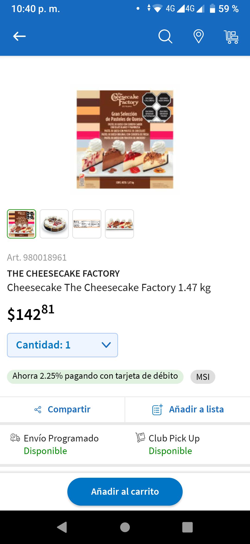 Sam's Club: Cheesecake The Cheesecake Factory 1.47 kg