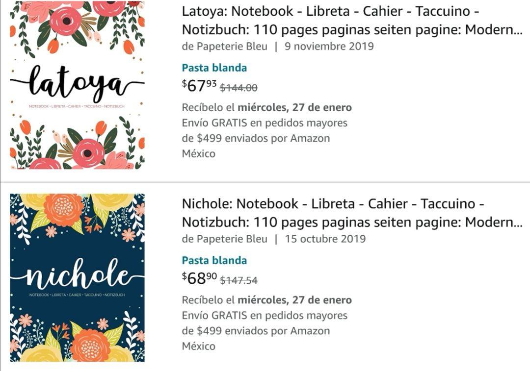 Amazon: Libretas con nombre de mujer (Para 14 Feb)