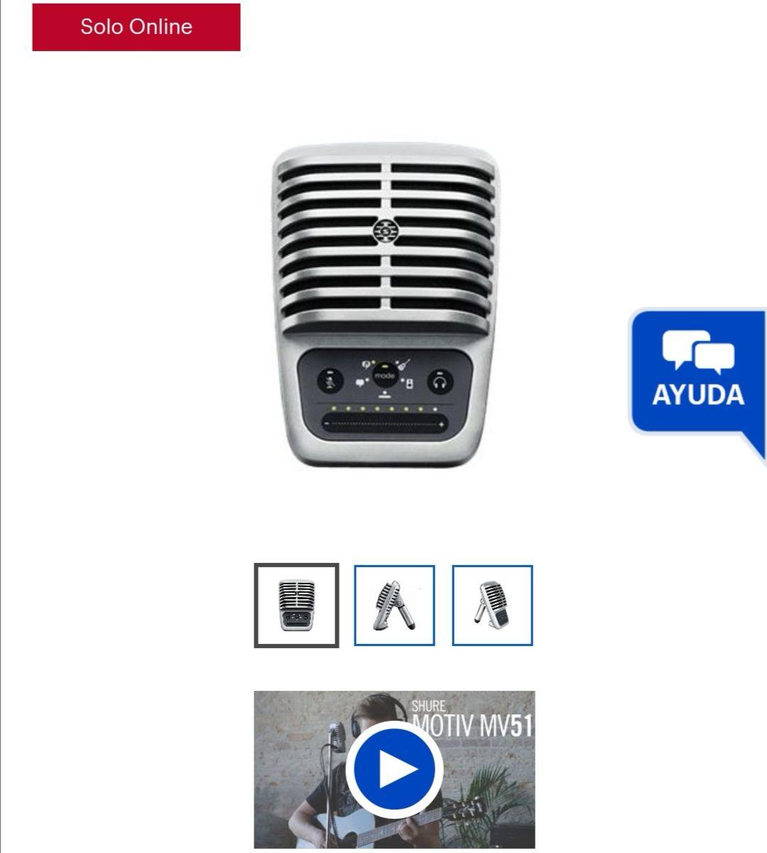 Best Buy: Shure - Micrófono de condensador de diafragma Grande MOTIV MV51