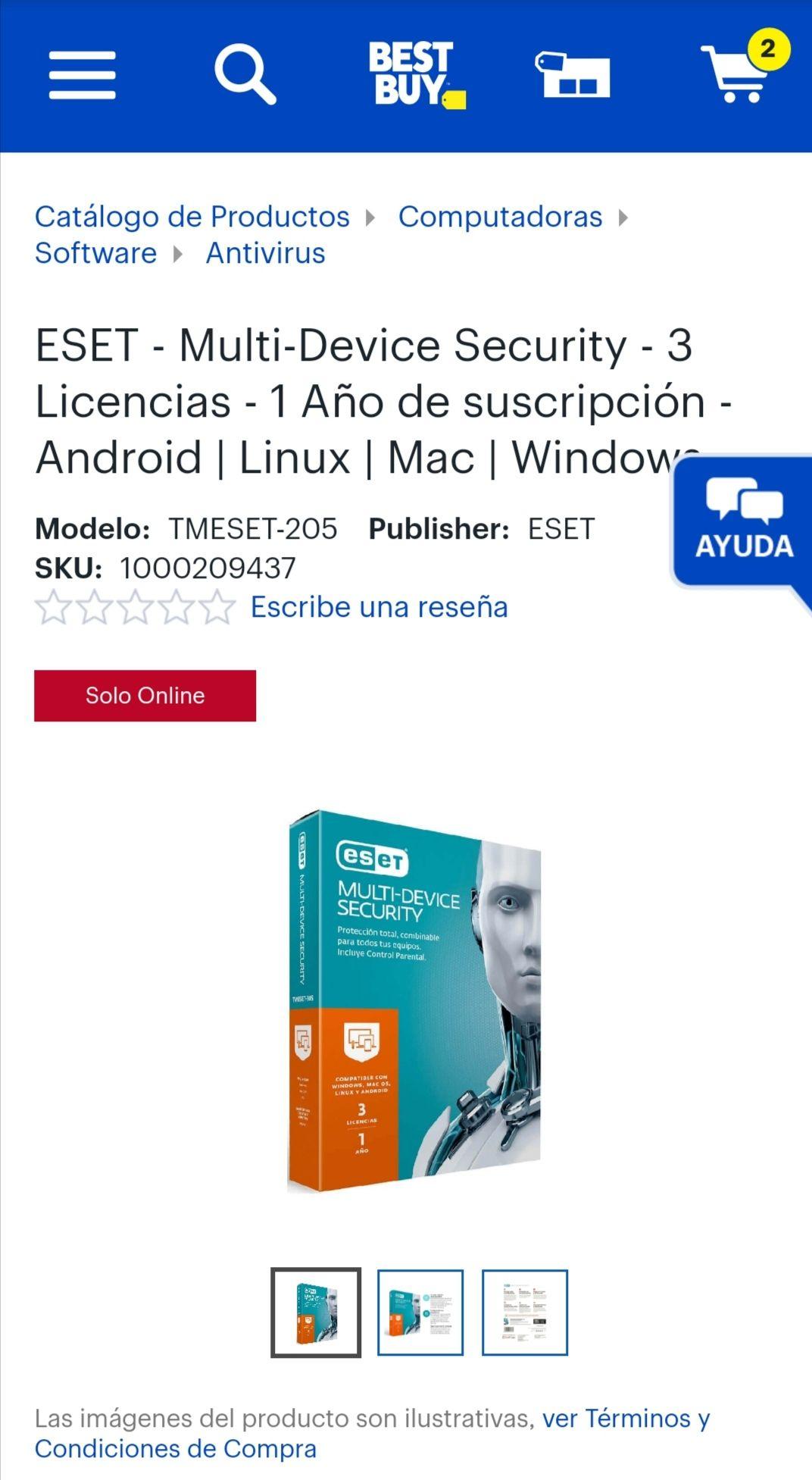 Best Buy, ESET - Multi-Device Security - 3 Licencias