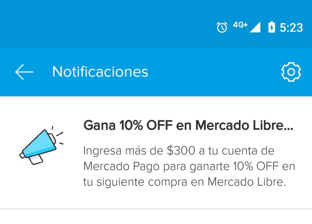 Mercado Pago: Ingresa más de $300 a tu cuenta y obtén 10% de descuento en tu siguiente compra en Mercado Libre