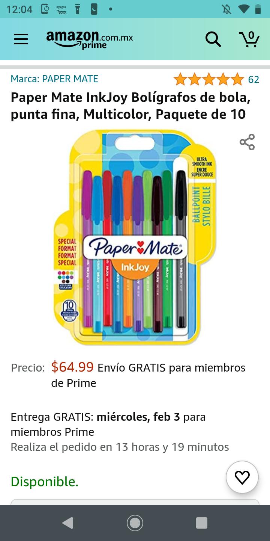 Amazon: Paper Mate InkJoy Bolígrafos de bola, punta fina, Multicolor, Paquete de 10