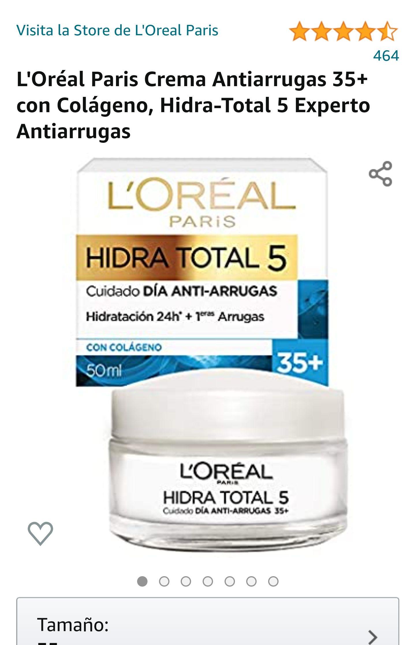 Amazon: L'Oréal Paris Crema Antiarrugas 35+ con Colágeno, Hidra-Total 5 Experto Antiarrugas