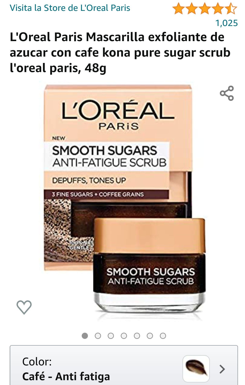 Amazon: L'Oreal Paris Mascarilla exfoliante de azucar con cafe kona pure sugar scrub l'oreal paris