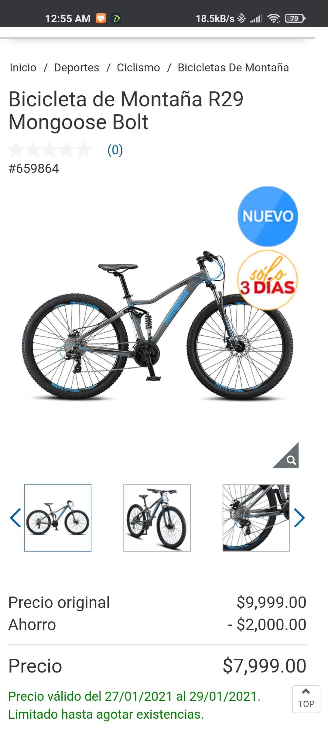 Costco: Bicicleta de Montaña R29 Mongoose Bolt