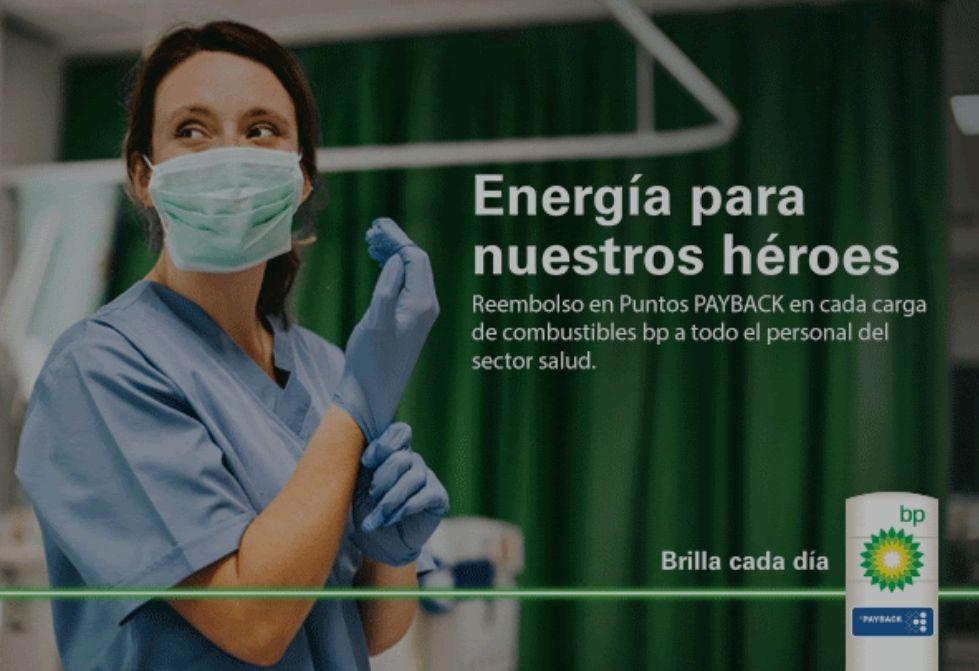 Reembolso de cada carga de combustible BP en puntos payback (personal del sector salud)