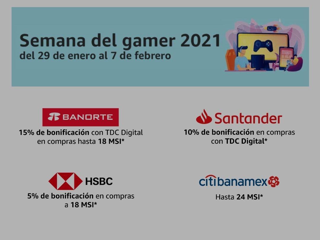 Amazon: Semana del gamer, 15% bonificación con Banorte, 10% con Santander, 5% con HSBC y Citibanamex hasta 24 MSI