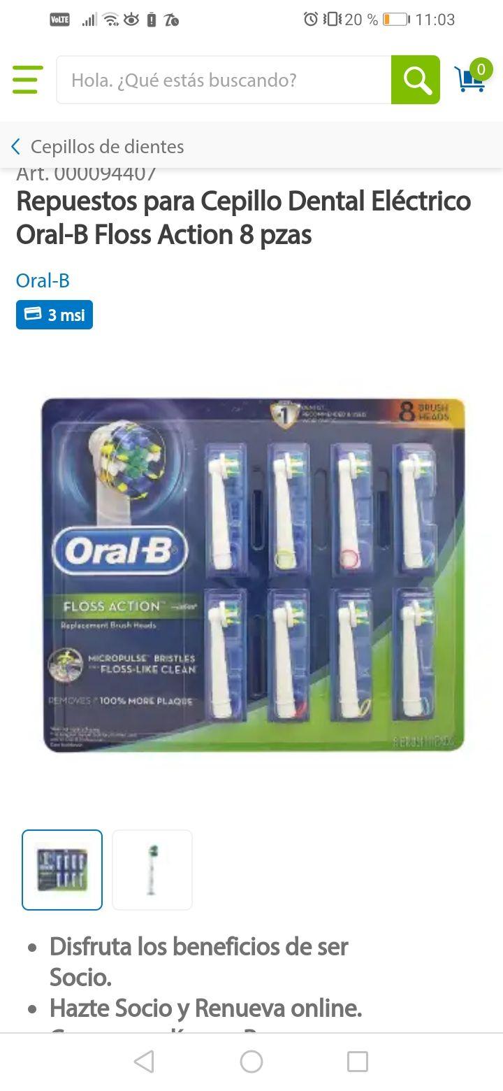 Sam's Club: Repuestos para Cepillo Dental Eléctrico Oral-B Floss Action 8 pzas