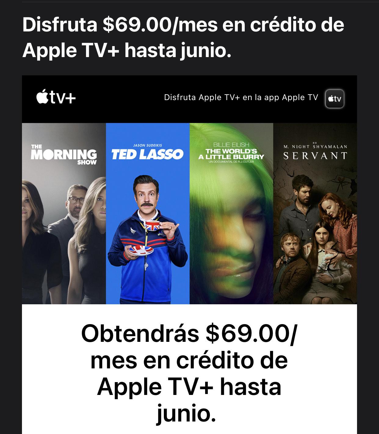 Apple TV - Crédito por $69
