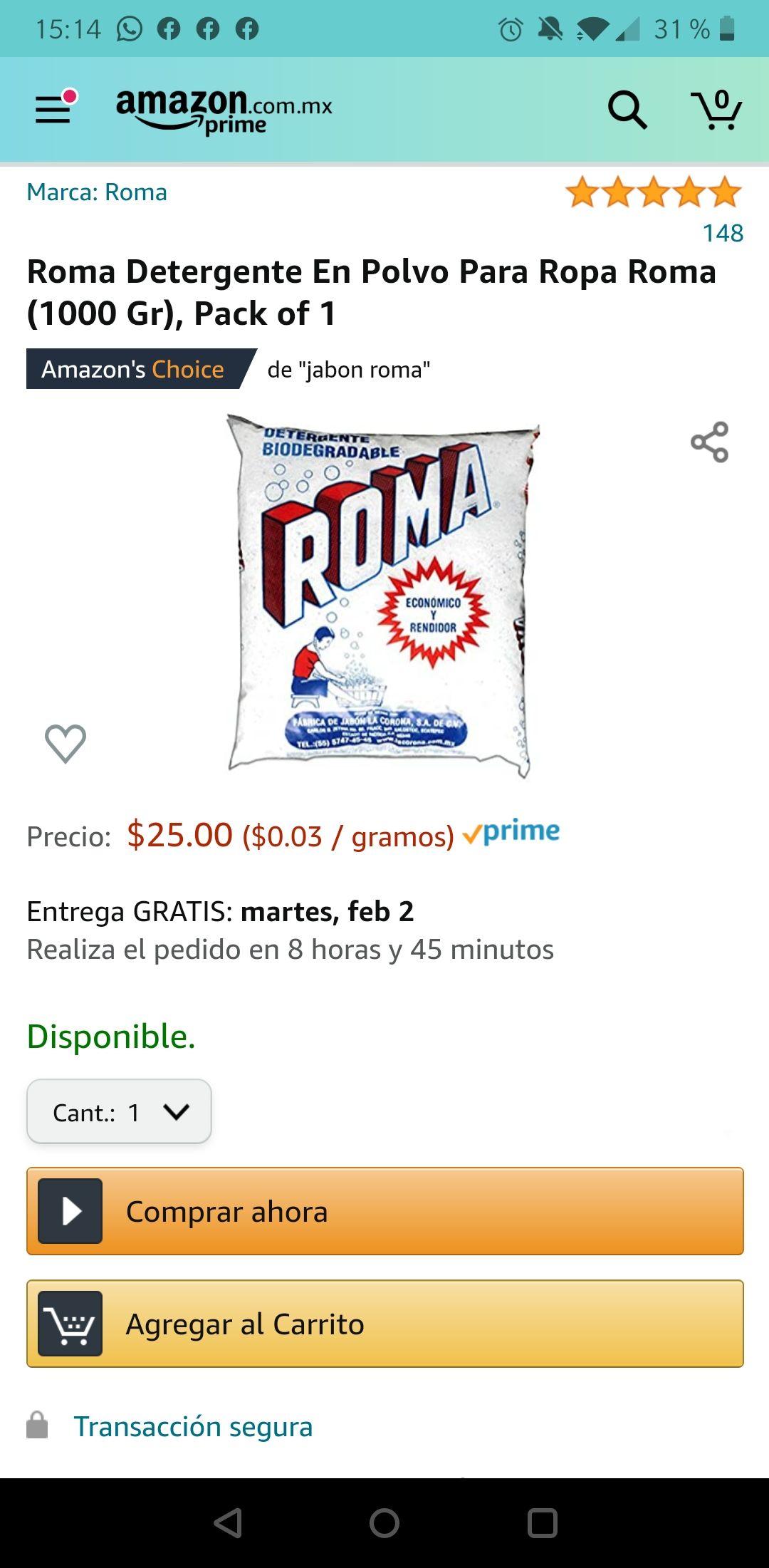 Amazon - Jabón detergente Roma 1 Kg $25