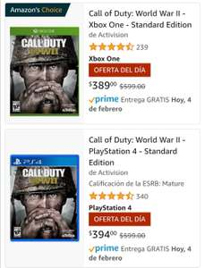 Amazon: Call of duty WWII, para Xbox One 389 y para PS4 394.