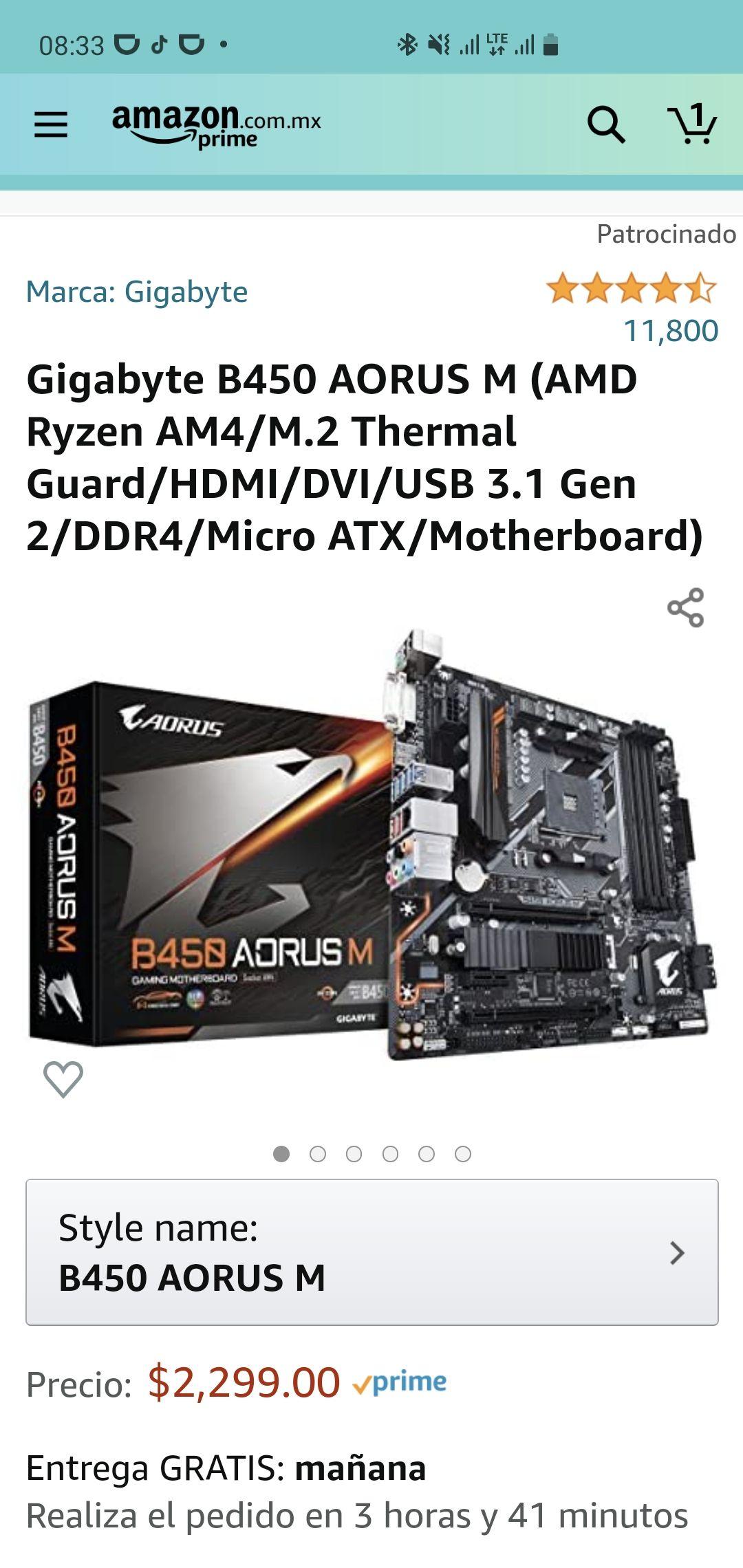 Amazon: Gigabyte B450 AORUS M (AMD Ryzen AM4)