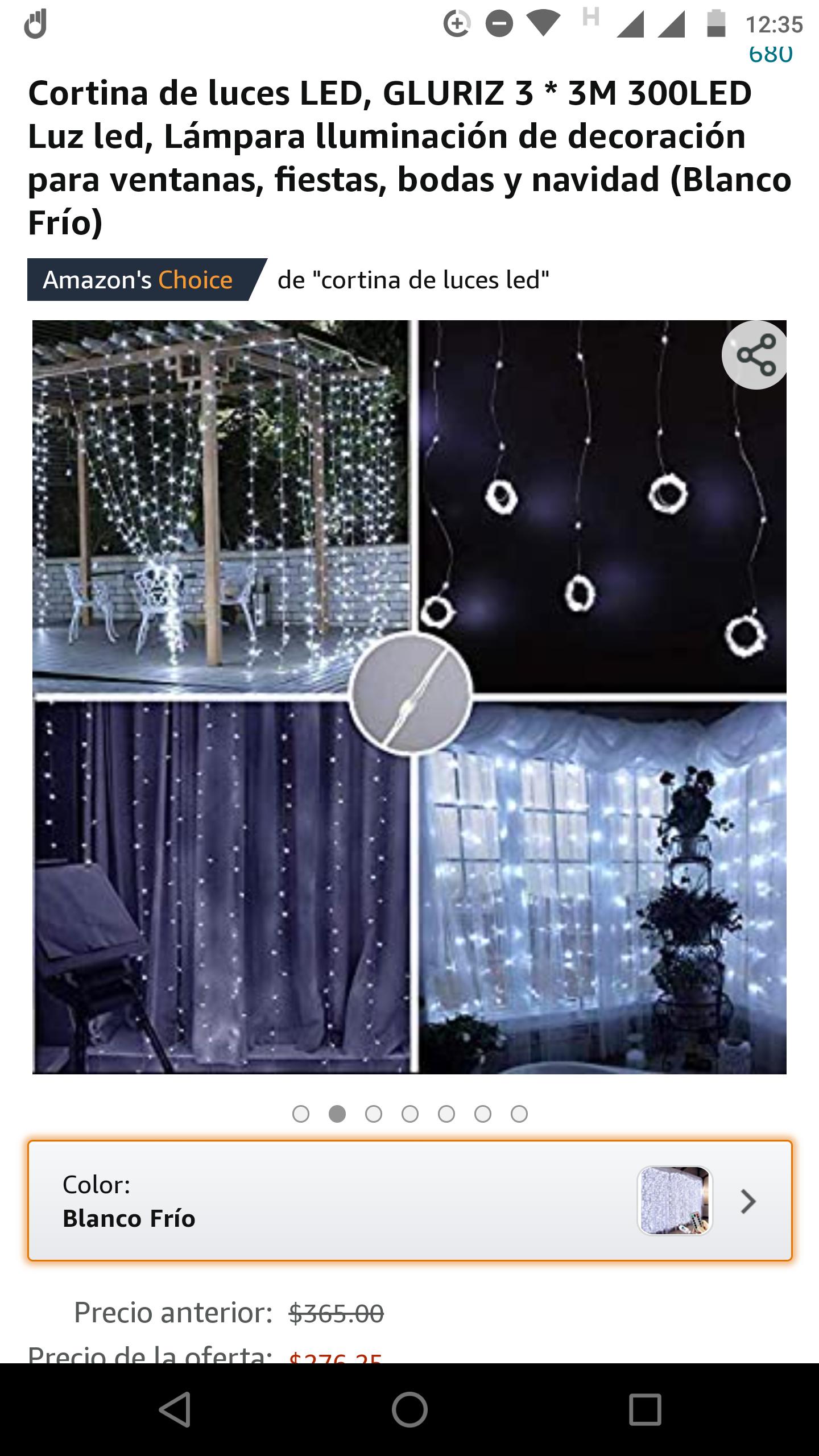 Amazon: Cortina de luces LED, GLURIZ 3 * 3M 300LED Luz led, Lámpara lluminación de decoración para ventanas, fiestas, bodas y navidad