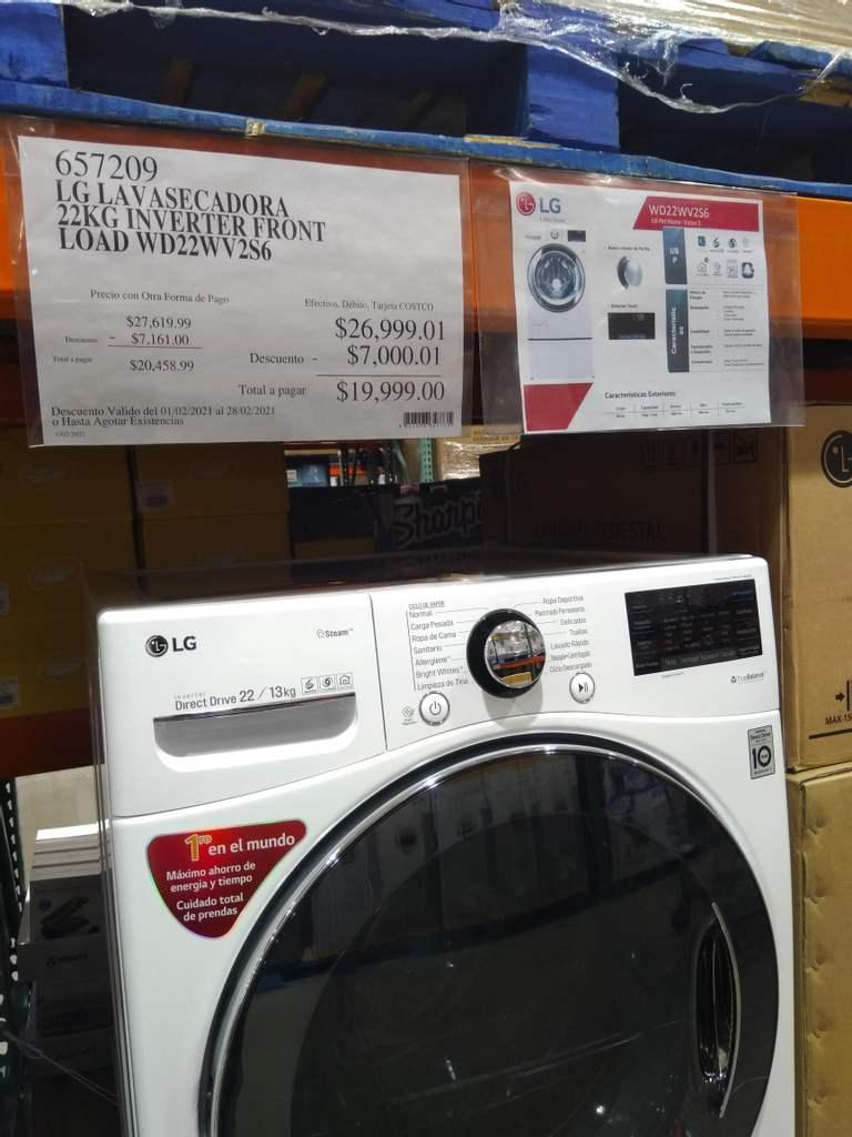 Costco Puebla: Lavasecadora LG 22kg/13kg Inverter