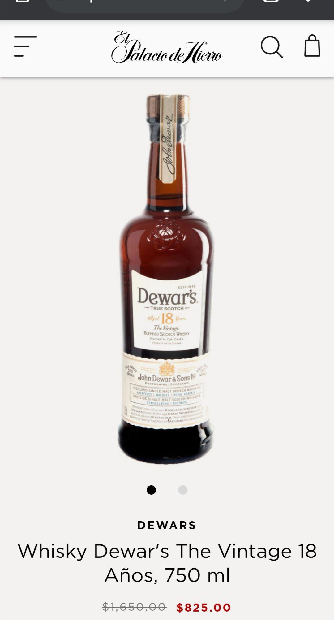 El Palacio de Hierro: Whisky 18 años marca Dewars 750 ml