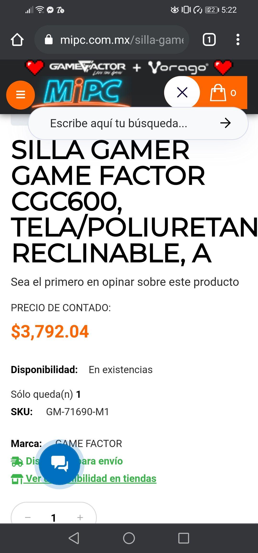 Mipc: Silla gamer gamer factor CGC600
