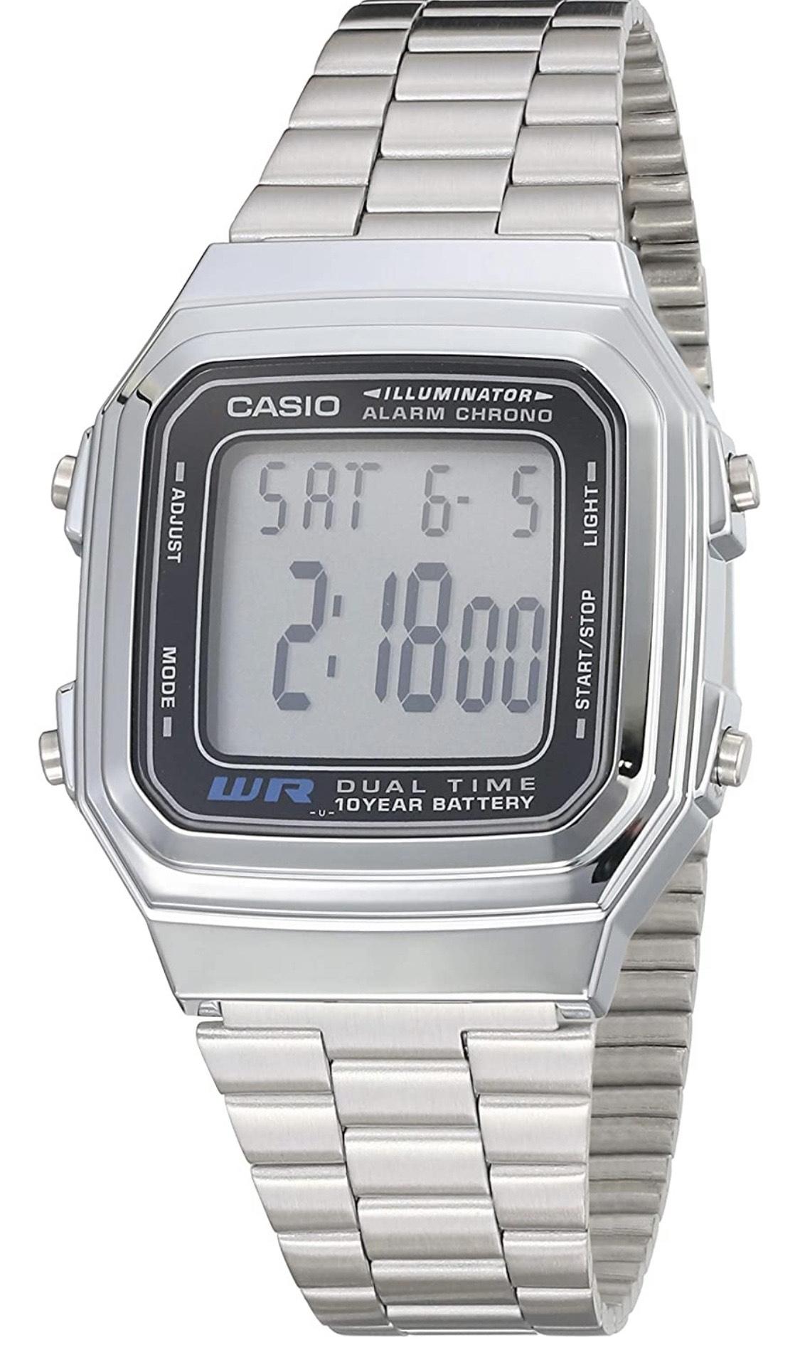 Amazon: Casio A178wa-1a Reloj Iluminator De Acero Inoxidable 32mm