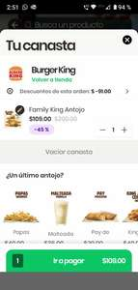 Rappi y Burger King: Family King antojo